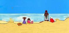 """""""De andra kommer inte. Men det gör inget. Hela stranden är vår. Och havet. Och himlen."""" Ur Viveka Sjögrens bok """"Den andra mamman""""."""