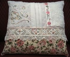 Pillow made with vintage Waverly fabric, lace, old printed ribbon with pink roses, & pearly buttons! Handmade by Laurie from Indulge Your Shelf