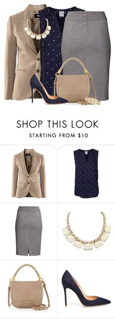 """""""Navy, Grey & Tan"""" by uniqueimage ❤ liked on Polyvore featuring H&M, Vero Moda, Marc by Marc Jacobs, Gianvito Rossi and Burberry"""