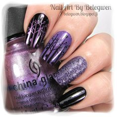 Nail Art by Belegwen: A England Ophelia, Essence Oh My Glitter, Depend Bluebell and stamps from BM-407.