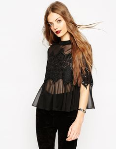 ASOS+Lace+Panel+Top+With+High+Neck+In+Knitted+Chiffon