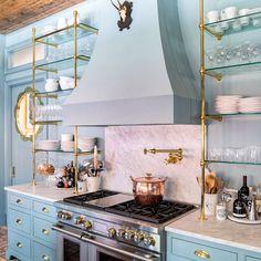 Ball style tubular brass shelving with glass shelves in Kitchen designed by Pamela Worley Thoreson – Grapevine, TX Glass Shelves In Bathroom, Kitchen Wall Shelves, Open Shelves, Pantry Design, Kitchen Design, Kitchen Ideas, Kitchen Redo, Brass Shelving, Shelving Design