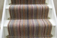 See our exciting wide range of Stair Runners and matching landing pieces from Crucial Trading. Striped Carpet Stairs, Stairway Carpet, Striped Carpets, Patterned Carpet, Carpet Sale, Cheap Carpet, Cottage Stairs, Hallway Paint, Hallway Colours