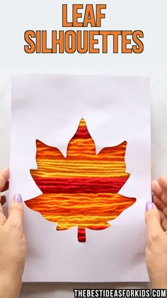 LEAF SILHOUETTE ART – so many fun ways to decorate this maple leaf for Fall! Use… LEAF SILHOUETTE ART – so many fun ways to decorate this maple leaf for Fall! Use paint, washi tape, yarn or paper. Grab the free printable template on the post. Kids Crafts, Art Activities For Kids, Fall Crafts For Kids, Autumn Activities, Preschool Crafts, Art For Kids, Fall Art For Toddlers, Autumn Art Ideas For Kids, Fall Paper Crafts