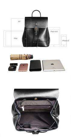 fc57b95f656c Womens Black Leather Backpack Purse Cute Backpacks for Women