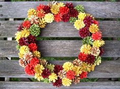 Fall Wreath, Thanksgiving.  Colorful Pine Cone Wreath.   www.etsy.com/shop/NaturesCraftSupply