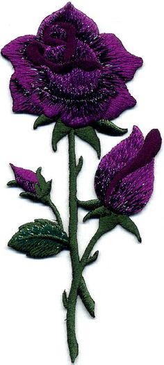 Sew on /& iron on embroidery patches 7 piece flower pedal set-purple