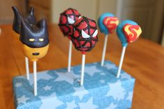 These took a WHILE to make, but were very fun! They are red velvet and cream cheese cake pops for a superhero and villain party.