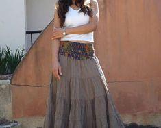 Long Skirt / Maxi Skirt / Long Boho Skirt / Full Length Skirt / Cotton Skirt / Modest Skirt / Plus Size Skirt / Color Light Brown