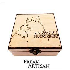 Studio Ghibli, Totoro, Wooden box Pyrography, Anime, Manga, Japan, films, gift, preesent, Birthday