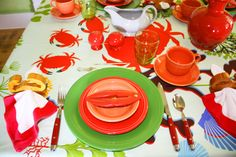 table cloths with crabs on them   Day 167 – It's CRAB Season!! « Retro Deco Settings A Day