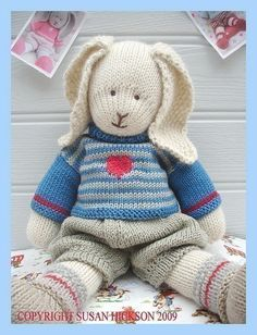 OSCAR RABBIT / Bunny/ Knitted Toy PDF email by maryjanestearoom