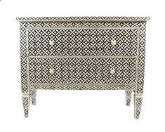 A beautiful two-drawer dresser with intricate hand carved bone pieces inlaid in a gorgeous mosaic pattern. The attention to detail doesnt stop at the inlays: notice that the patterned inlays run through the legs as well. Beautiful hand carved knobs accompany this ornate chest of drawers. Dimensions - 36L x 16W x 30H This piece is made to order. Please allow 3 to 4 weeks to process and make the order before shipping. Air-shipped worldwide from India through Fedex or DHL for US $600. Onc...