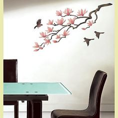 magnolia wall stencil - Google Search  Thinking about doing something similar in my bathroom or bedroom.