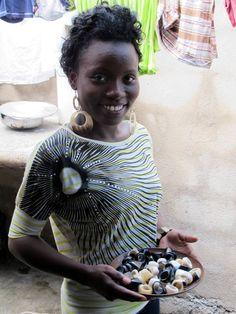 Heart of Haiti artisan, Belinda who designed the horned ring and earrings for Rachel Roy