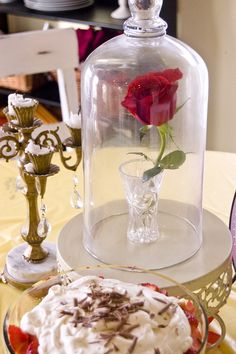 Beauty and the beast bday party rose under glass