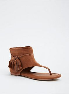 b0ad0e046 Genuine Suede Fringe T-Strap Sandals (Wide Width)
