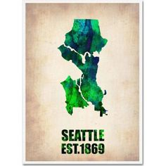 Trademark Fine Art Seattle Watercolor Map Canvas Art by Naxart, Size: 18 x 24, Multicolor