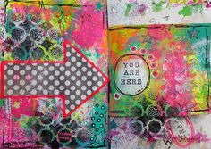 Today's prompt @raemissigman's #artmarks30daychallenge : arrow like  Quick and easy Art journal page #mixedmedia #artjournaling #artjournal #collage #stamping #posca