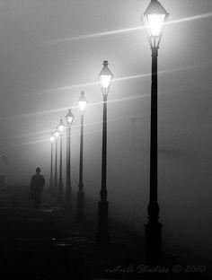 Street Lamps on a foggy night #StreetLamp