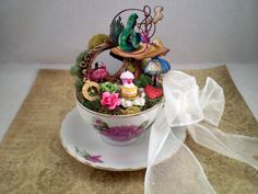 Custom Wonderland Teacup Cake Topper Centerpiece, you pick you character