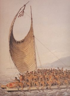 Kalaniʻōpuʻu, King of Hawaii bringing presents to Captain Cook. Illustrated by John Webber, artist aboard Cook's ship.