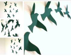 3d Bird wall Art Black wall art Paper birds by MyDreamDecors