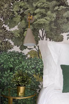 Feature Wallpaper, I Wallpaper, Office Wallpaper, Scandinavian Bedroom Decor, Home Decor Bedroom, Interior And Exterior, Interior Design, Tropical Wallpaper, Headboards For Beds