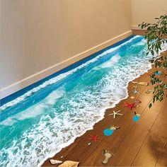 2016 Top Selling Creative 3D Wall Stickers Starfish Footprint Beach Bathroom Floor Sticker Sea Vinilos Paredes Kids Poster WT171