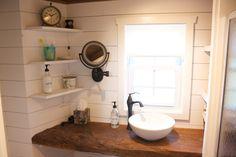 Tiny house bathroom vanity. reclaimed barn wood with shiplap