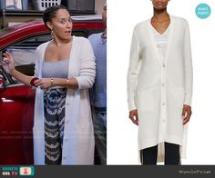 Rainbow's long white cardigan on Black-ish.  Outfit Details: https://wornontv.net/56237/ #Blackish
