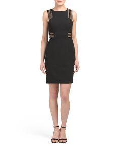 Sleeveless Crepe Illusion Striped Dress