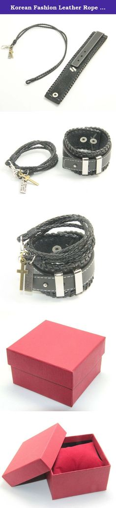 Korean Fashion Leather Rope Double Wrap Cross Buckle Bracelet Wristband Black. Bracelet Features: punk rivet fashion mens womens adjustable Bangle cuff bracelet wristband. Made of high quality leatehr with alloy rivets. Easy to dress up and create your own style. Suitable for any lady man wearing on any occasion ,and would be a nice accessory for you to show off yourself. It is your best choice.Don't miss it.