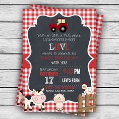 On the Farm Birthday Invitation, First Birthday, Girl Birthday, Boy Birthday, Party, Barnyard, Printable Stationery, Digital