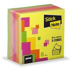 Bloco autoadesivo 76x76 c/400fls neon cores Stick Note - Escritório - Kalunga.com