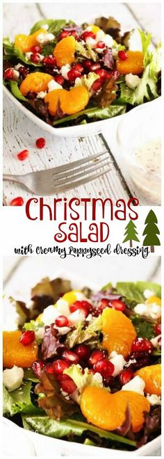This Christmas Salad with Creamy Poppy Seed Dressing is the perfect side dish for your special holiday dinners. The dressing is so creamy and delicious! via Favorite Family Recipes christmas food ideas for dinner Christmas Salad Recipes, Holiday Recipes, Recipes Dinner, Family Recipes, Healthy Christmas Dinner Recipes, Dinner Dishes, Christmas Side Dishes, Christmas Vegetable Side Dishes, Spareribs