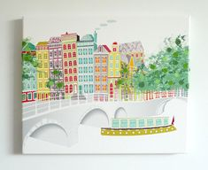 Amsterdam Across the canal  Stitched cityscape by lauraamiss, €70.00