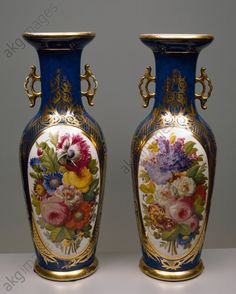 akg-images - Pair of vases with Imari style decorations, 1840–1850, porcelain Parisian manufacture. France, 19th century.