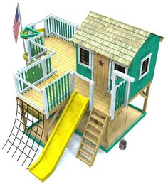 large playset plan for kids with slide, cargo net, bucket & pulley and slide