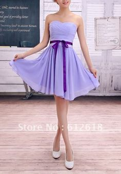 sweethear lavendar bridesmaid dresses | ... Lavender Chiffon Sweetheart Sash A Line Short Bridesmaid Dress Picture