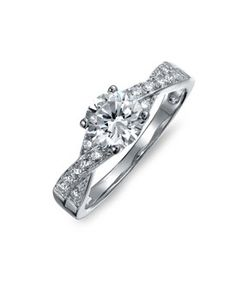 Bling Jewelry Bling Jewelry Silver 1.2ct Cz Pave Solitaire Engagement Ring Side Stones