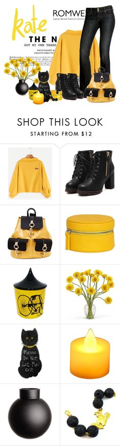 """Romwe yellow drop shoulder sweatshirt"" by lorrainekeenan ❤ liked on Polyvore featuring Paige Denim, Alisa Smirnova, Mele & Co., Ceramica Gatti 1928, Nearly Natural, LumaBase and H&M"