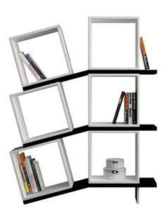 Bibliothèque Balance blanche et noire 100 x 147 x 25 cm