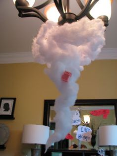 Tornado out of cotton batting and/or tulle would make a cool centerpiece for Oz party