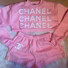 shorts sweater urban pastel pink nightwear crop tops outfit pajamas pink shirt chanel cropped sweater tracksuit
