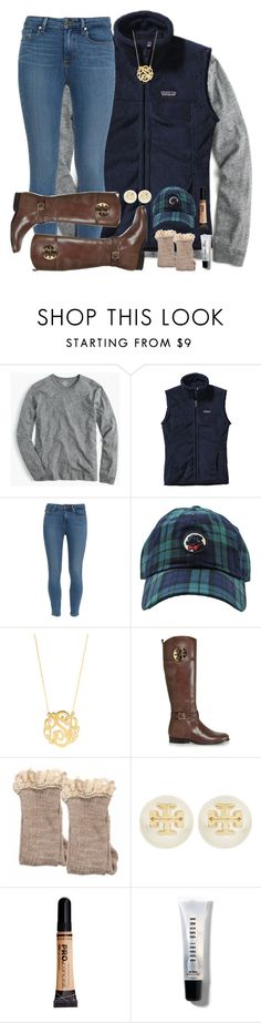 """most wonderful time of the year ☃️"" by mehanahan ❤ liked on Polyvore featuring Patagonia, Paige Denim, Southern Proper, BaubleBar, Tory Burch and Bobbi Brown Cosmetics"