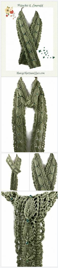 Willow #Green #cotton lace #scarf Embellished with Emerald Swarovski Crys   NancysKnotsLace https://nancysknotsandlace.indiemade.com/product/pistachio-emerald-cotton-scarf-long-thin-leaf-pattern-swarovski-crystal