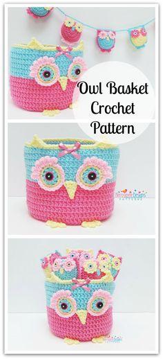 OWL BASKET FAMILY Crochet Pattern - Crochet Owl basket Pattern - Little Owls And Bunting Crochet Pattern and Tutorial #ad #affiliate