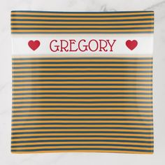 Custom Name  Blue & Orange Stripes/Lines Pattern Trinket Trays - home gifts cool custom diy cyo