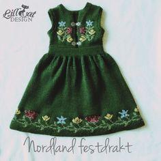 Garnpakke mnd Nordland festdrakt by Garnkista Knitting For Kids, 18th, Summer Dresses, Crochet, Tops, Design, Women, Image, Fashion
